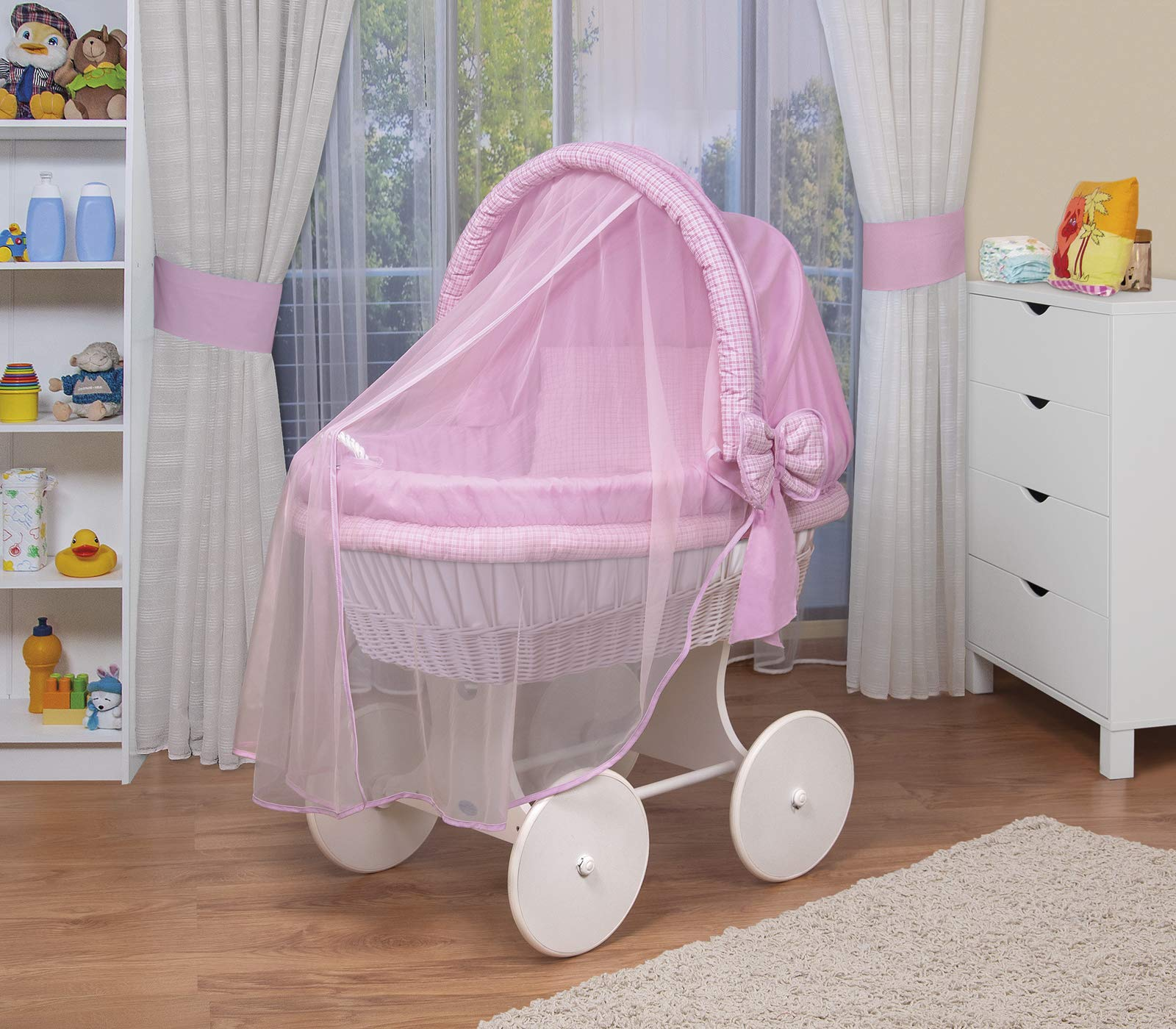 WALDIN Baby wicker cradle,Moses basket,44 models available,white painted stand/wheels,textile colour pink/squared WALDIN For more models and colours on Amazon click on WALDIN under the title Bassinet complete with bedding and stand Certified to safety standard EN 1130-1/2 2