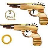 Gejoy 2 Packung Gummiband Pistole Spielzeug Holz und Handgemachte Spielzeug Pistole Einfaches Laden 50 Gummibänder Pro Set