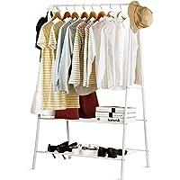 INTEY Portant À Vêtement, Porte-Manteau sur Pieds à 2 Étagères, 158x43x75cm, Meuble pour l'Entrée, 2 Crochets Latérales…