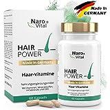 Haar-Vitamine - Für gesunde Haare, Haut und Nägel - Hochdosiert 725 mg - Mit Biotin, Zink, Selen, Hirse, OPC & Mehr - 60 vegane Kapseln - gesunder Haarwuchs & Bartwuchs - NaroVital®