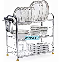 WINSTAR Stainless Steel 3 Shelf Wall Mount Kitchen Utensils Rack | Dish Rack with Plate & Cutlery Stand | Modular Kitchen Storage Rack | Kitchen Organizer (18x18 inches)