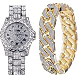Orologio Hip Hop Full Diamond Bracciale Uomo Orologio + Bracciale Set Blinged Out Diamond Bracelet Watch Iced Out Zircon Watc