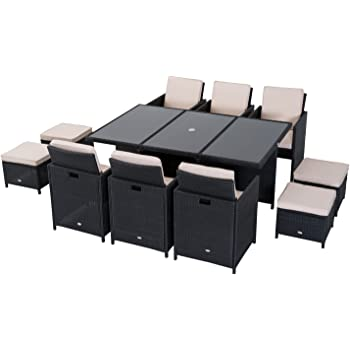 11 Piece 10 Seater Pe Rattan Cube Table Chair Stool Set