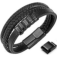 GENAC Bracelet Pour Homme En Cuir Véritable De Haute Qualité Et Acier Inoxydable Avec Fermoir Magnétique Amovible Pour…