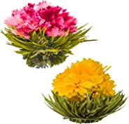 Blühende Teeblumen - Granatapfel & Ananas Blütentees – Handgebundene blühende Teekugeln - Jede Teeblüte kann mehrfach verwend