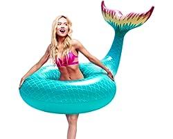 FUNOVA Gonfiabile Galleggiante Coda di Sirena Gigante Anello da Nuoto Salvagente Piscina per Bambini Adulti Giocattolo Estate