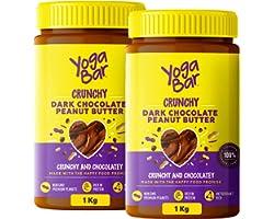 Yogabar Crunchy Peanut Butter (Buy 1 Get 1 Free) | Dark Chocolate Peanut Butter with High Protein & Anti-Oxidants | Creamy, C