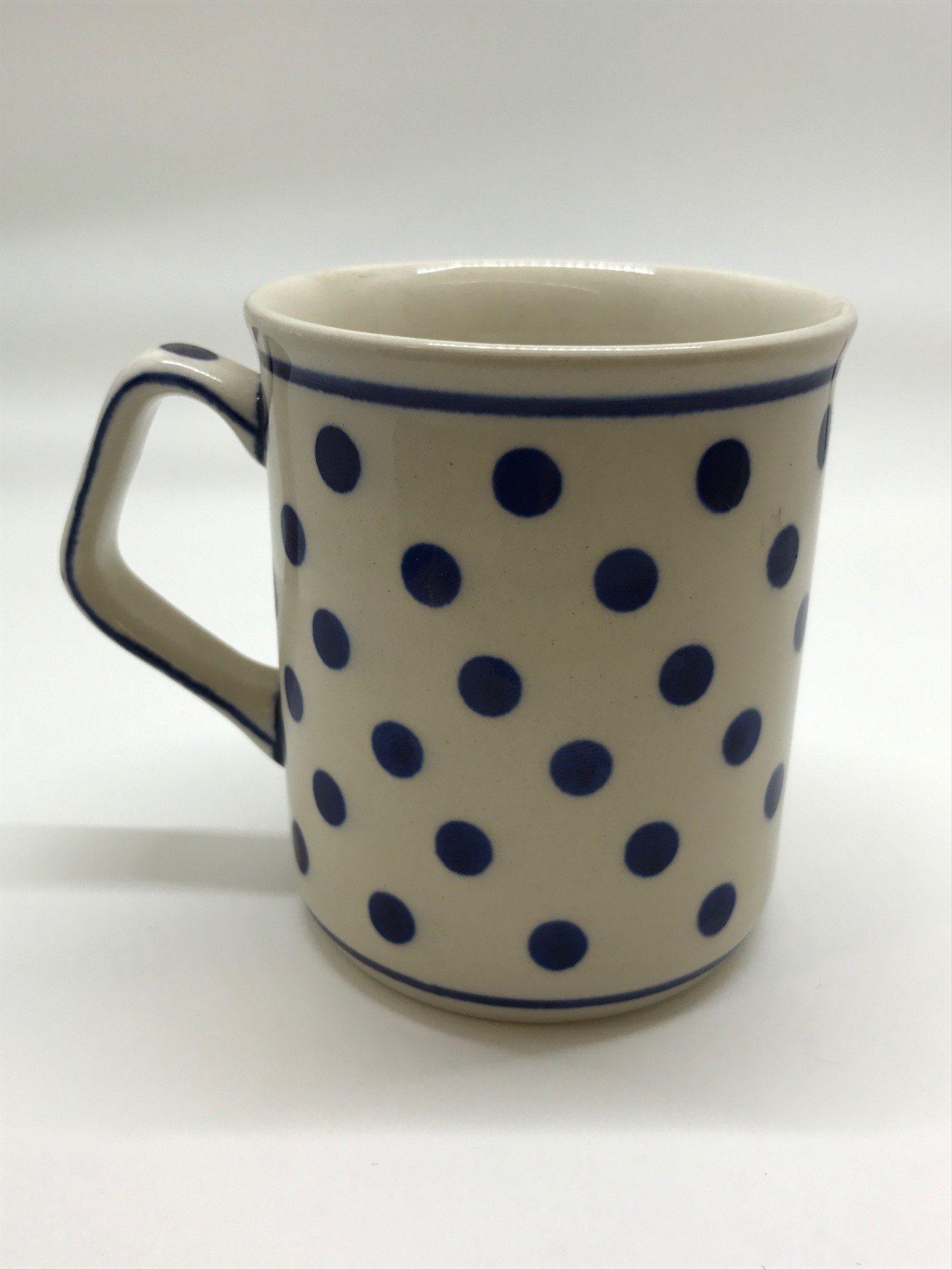 Polish Pottery Boleslawiec Mug, Small, Straight, 0.25L in DOTTY pattern