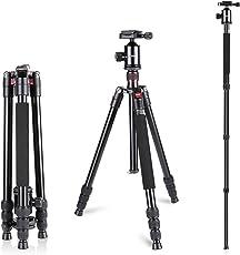 Neewer Aluminium Legierung 162 Zentimeter Kamera Reisestativ Einbeinstativ mit 360-Grad-Kugelkopf, 1/4 Zoll Schnellwechselplatte Teller und Tasche für DSLR-Kamera Video Camcorder bis zu 12 Kilogramm
