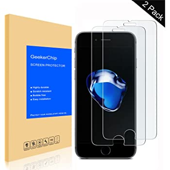 [2-Pack] Vetro Temperato iPhone 8 / 7,GeekerChip Pellicola Protettiva Protezione Protettore Glass Screen Protector per iPhone 8 / 7( Durezza 9H,Bordi Arrotondati da 2,5D)