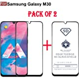CEDO Full Glue Coverage Edge to Edge Tempered Glass Screen Protector for Samsung Galaxy M30 (Pack of 2) (Black)