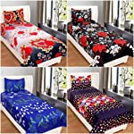 BSB HOME Trendz Glace Cotton 160 TC with 200 GSM Single Bed Queen Size Bedsheet with 4 Pillow Cover -Set of 4