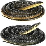estMall grote rubberen slang, 2-delig realistisch rubberen enge slangenspeelgoed, nep grote zwarte mamba-slang voor tuinrekwi