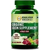 Himalayan Organics Organic Iron Supplement with Folic Acid   Blood Builder   Whole Food   120 Veg Capsules
