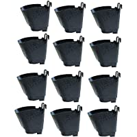 Plastic Vertical Gardening Pots, Black, 4x4x4 inches, 12 Pieces