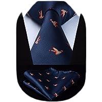HISDERN Cravatta da uomo fantasia animali Cravatte e Fazzoletto da matrimonio elegante classica cravatta set