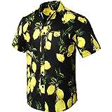 HISDERN Men Funky Hawaiian Shirts Short Sleeve Front Pocket Holiday Summer Aloha Printed Beach Casual Hawaii Shirt S-2XL