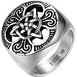 JewelryWe Gioielli Anello Grande Vitange Gotico, da Uomo Donna, Acciaio Inossidabile Argento, Sigillo del Nodo Celtico Disegn
