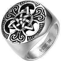 JewelryWe Gioielli Anello Grande Vitange Gotico, da Uomo Donna, Acciaio Inossidabile Argento, Sigillo del Nodo Celtico…