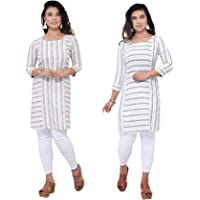 Jeff Co-op Women's Cotton Maternity Short Lining Kurti with Zipper Printed V-Neck Feeding Kurta for Pre and Post…