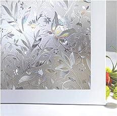 Zindoo 3D hochwertige Premium No-Kleber Fensterfolie Sichtschutzfolie Statisch Folie
