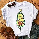 AFASSW Kawaii - Camiseta de aguacate de dibujos animados para mujer, informal, divertida, con gráfico de aguacate, para mujer