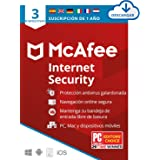 McAfee Internet Security 2021, 3 Dispositivos, 1 Año, Software Antivirus, Manager de Contraseñas, Seguridad Móvil, PC/Mac/And