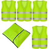 Set med 4 Hi Viz säkerhetsväst fluorescerande gul väst med hög synlighet EN 471 olyckor bil stjärna linje vetter resistent tv