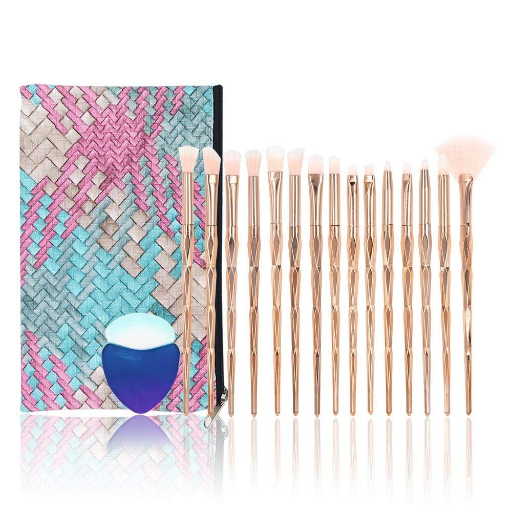 Conjuntos de pinceles de maquillaje de diamante, NIZIYI 15PCS Set de pinceles cosméticos de maquillaje,cerdas de nailon suaves, brochas de belleza, kit de base, con bolsa de cosméticos