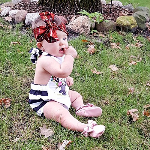 Baby Infant Toddler Girls Deer Print Striped Rompers Jumpsuit Bodysuit