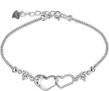 B. Catcher, braccialetto da donna placcato in argento Sterling 925 con due cuori, con zirconia cubica