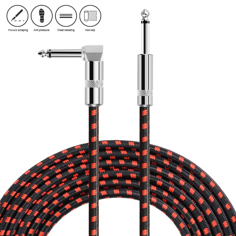 10FT Asmuse Cavo Chitarra 3M Spirale Slient Cavo Jack Strumento con 6.35mm TS Mono Jack Premio Rame Placcati Cavi in Tweed per Chitarra Acustica Classica Elettrica Basso a Ampli