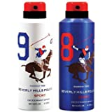 Beverly Hills Polo Club Men Deodorant No. 9 & No. 8- Pack Of 2 (175ml Each)