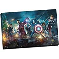 Image des super héros The Avengers de Marvel imprimée sur toile et tendue sur bois, 30 x 20 Inches (76cm x 51cm)