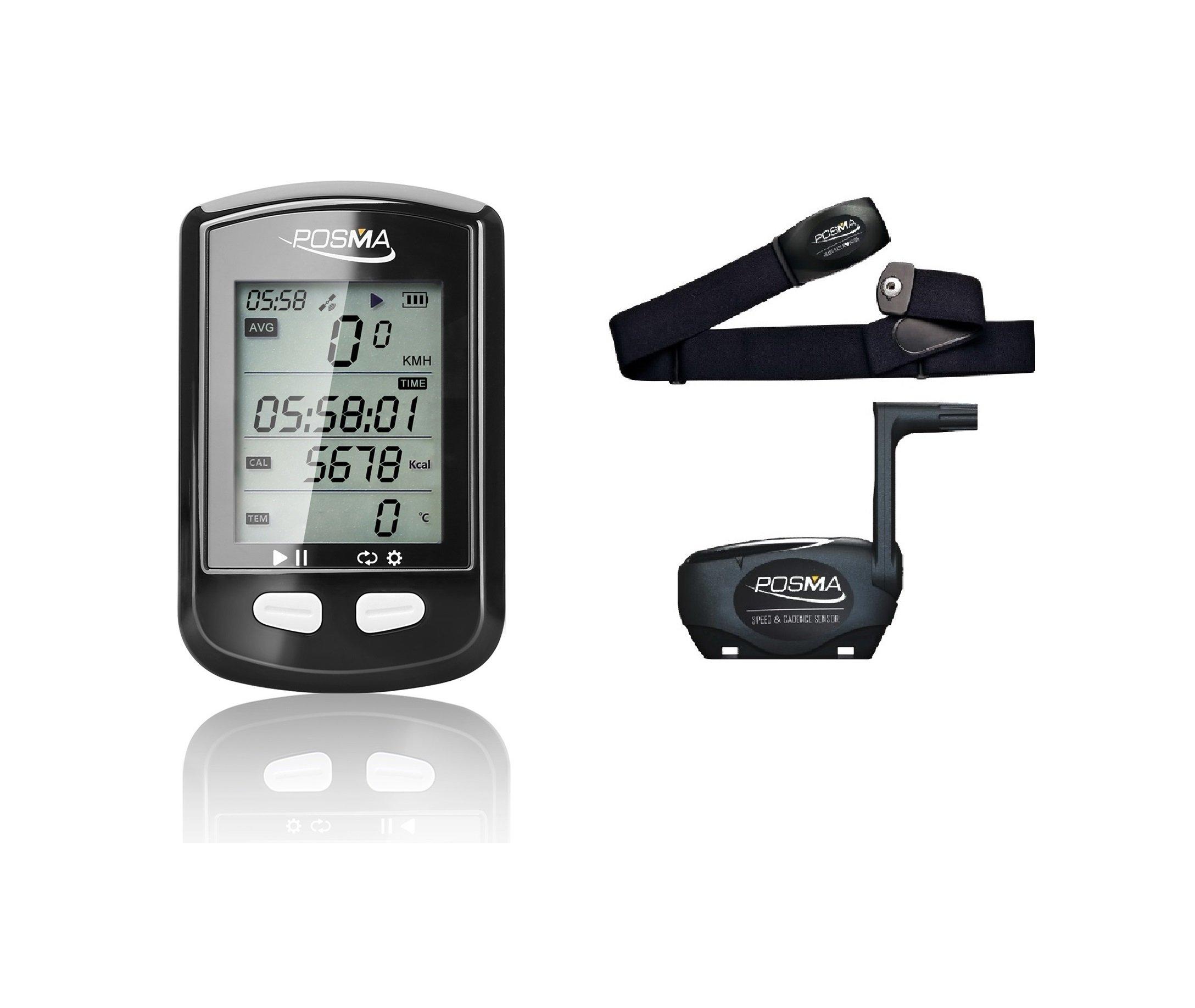 POSMA DB2 Bluetooth GPS Cycling Bike Computer Bundle with BHR20 Heart Rate Monitor and BCB20 Speed/Cadence Sensor
