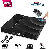 Externes DVD Laufwerk,GVOO USB 3.0 DVD-RW DVD/CD Brenner mit Berührungssensor Laptops/Desktop z.B Lenovo/PC unter Windows und Mac OS für Apple MacBook/MacBook Pro/MacbookAir/Mac – Schwarz