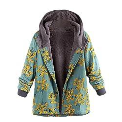Logobeing Abrigo Invierno Mujer Chaqueta Su ter Jersey Mujer Cardigan Mujer Tallas Grandes Outwear Floral Bolsillos con Capucha