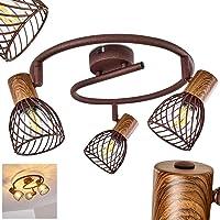 Plafonnier Arjen en bois et métal finitions rouille, 3 spots de plafond pivotants parfaits pour une cuisine vintage ou…