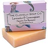 Clovelly Soap Co Handmade Lavender & Lemongrass Natural Shampoo Soap Bar for Normal-Oily hair & scalp