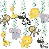 Festiko 12 pcs Jungle Animal Hanging Swirl Decoration Safari Theme Zoo Swirls Animals Birthday Party Spirals Home Ceiling Wal