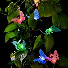 Bulfyss Solar Powered String Lights Decorative Beautiful Butterfly Design Light 9 LED for Outdoor Decoration (Multicolour)