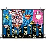LYWYGG 7x5FT Máscara Superhero Birthday Photo Telón de Fondo Paisaje Urbano Fondos de Dibujos Animados Superhero Party Suppli