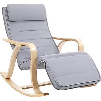 SONGMICS Rocking Chair Fauteuil à Bascule avec Repose-Pied réglable 5 Niveaux Charge Max 150 kg Gris Clair LYY41G