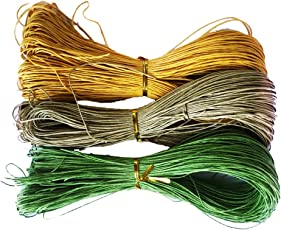 Segolike 3 Pieces 80m Jewelry Making Cotton Waxed Cord String Thread for Beading DIY Bracelet Necklace 1mm - yellow+beige+green, 80 Meters