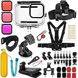 Deyard Kit de Accesorios para GoPro Hero 9 Black, Juego de Accesorios para Hero 9 Black, Carcasa Impermeable + Funda de Goma