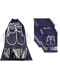 10 Pack Scarpe Borse per Viaggiare, ZWOOS Sacca da Viaggio Impermeabile Sacchetti Portascarpe Organza con Finestrella Trasparente per Stivali, Tacco Alto, Scarpe e Sandali
