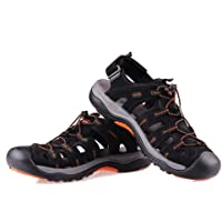 GRITION Mens Hiking Sandals Outdoor Sports Summer Beach Fisherman Water Shoes Adjustable Walking Closed Toe Trekking…