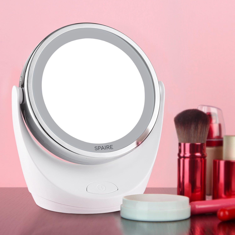 Spaire Miroir Maquillage 10x 1x Led Double Face Miroir Grossissant