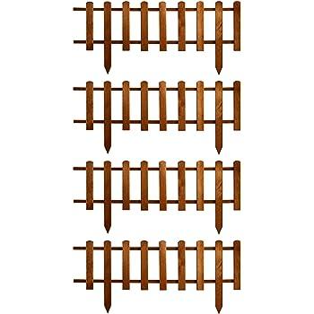 Floranica® Stecca Recinzione Ornamentale in Legno, con Altezza di 30 cm, Recinzione per Giardino steccato in 2 Colori, impregnata Contro Le intemperie, Colore:Marrone, Set:Set di 4 (4 x 105 cm)