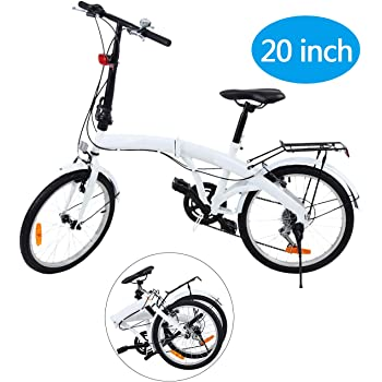 Ridgeyard 20 Pulgadas Bicicleta Plegables Plegable de 6 velocidades con Soporte Trasero LED Battery Light (